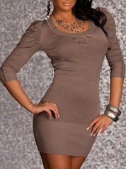woman mini dress ema coffe