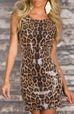 GLOSSY GEPARD PRINTED BROWN  MINI DRESS