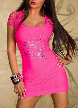 Amazingly Elastic Heart Pink Mini Dress