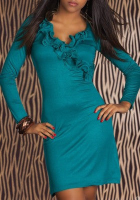 Romantic Long Sleeve Aqua Mini Dress Irina