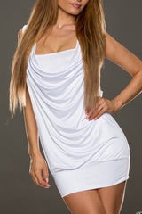 Laced Free Cut Sleeveles White Mini Dress