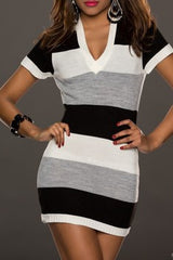 STRIPED KNITTED RAINBOW GREY MINI DRESS