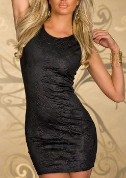 SMALL BLACK ENGRAVED SHAPE MINI DRESS
