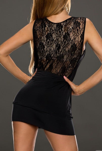 Laced Free Cut Sleeveles Black Mini Dress