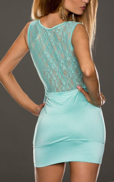 Laced Free Cut Sleeveles Turquoise Mini Dress