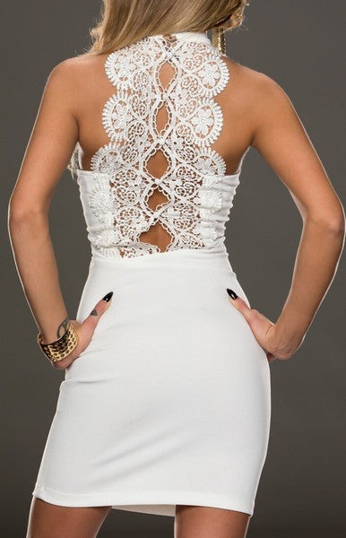 GORGEOUS BACK LACED  SLEEVELESS WHITE MINI DRESS