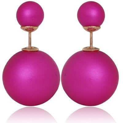 TRENDY DOUBLE PEARL ORCHID EARRINGS