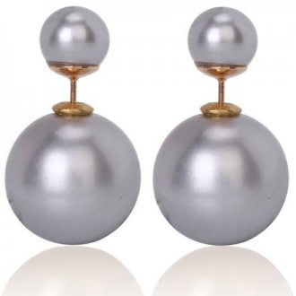 TRENDY DOUBLE PEARL SILVER EARRINGS