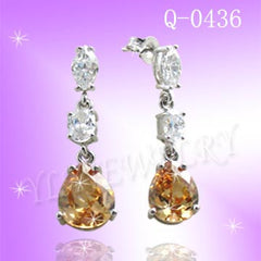 925 Sterling Silver CZ Amber Drops Earrings Q0436