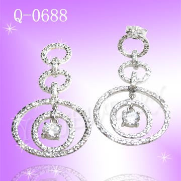925 Sterling Silver CZ Chic Earrings Q0688