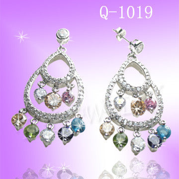 925 Sterling Silver CZ Rainbow Earrings Q 1019