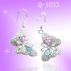 925 Sterling Silver CZ Butterfly Earrings Q1033