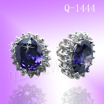 925 Sterling Silver CZ Violet Queen Earrings Q1444
