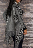 WOMAN PONCHO NORDIC BLACK