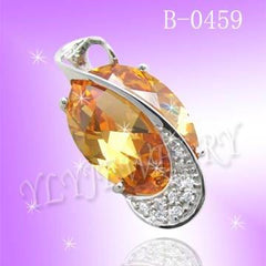 925 Sterling Silver CZ Luxury Amber Pendant B 0459