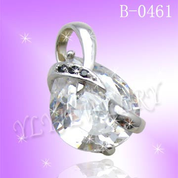 925 Sterling Silver CZ Crystal Heart Pendant B0641