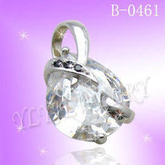 925 Sterling Silver CZ Color Crystal Heart Pendant B 0641