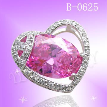 925 Sterling Silver CZ Pink Heart Pendant B0625