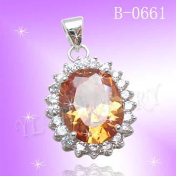 925 Sterling Silver CZ Amber Sunny Pendant B0661