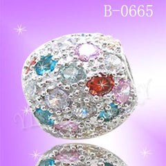925 Sterling Silver CZ Color Ball Pendant B 0665