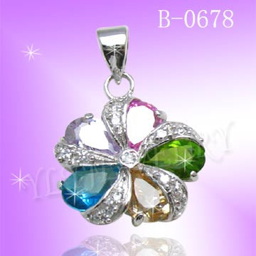 925 Sterling Silver CZ Color Flower Pendant B0678