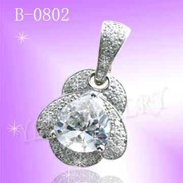 925 Sterling Silver CZ Color Crystal Queen Pendant B0802