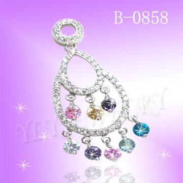 925 STERLING SILVER CZ RAINBOW PENDANT B0858