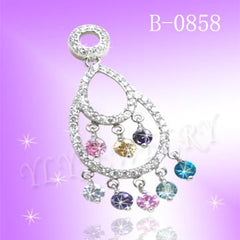 925 Sterling Silver CZ Rainbow Pendant B 0858