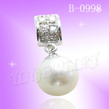 925 Sterling Silver CZ Simple Pearl Pendant  0998