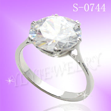 925 Sterling Silver CZ Engagement Ring S 0744