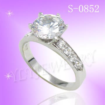 925 Sterling Silver CZ Proposal Ring S 0852