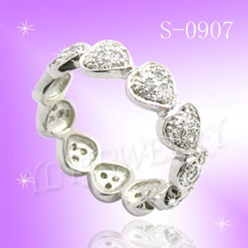 925 Sterling Silver CZ Love U Ring S 0907