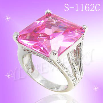 925 Sterling Silver CZ Adore U Ring S 1162