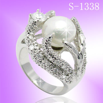 925 Sterling Silver CZ Pearl Ring S 1338