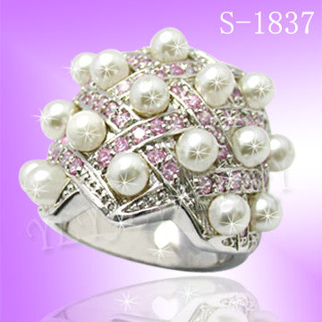 925 Sterling Silver CZ Allure Pearl Ring S 1837