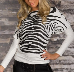woman pullover zebra black