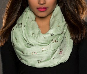 WOMAN SCARF BUTERFLY MINT