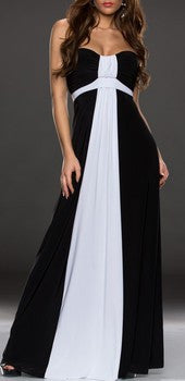 Elegant Black&White Evening Gown Maxi Dress