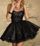 Festive Glittered Black Chifon Mini Dress