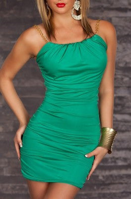 Green Elastic Chain Straps Mini Dress