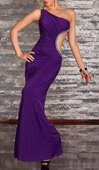 ULTRA ELEGANT SEXY ONE SHOULDER VIOLET MAXI DRESS