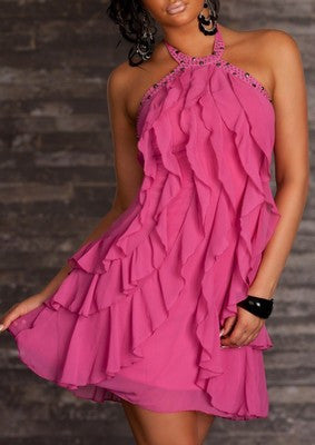 Ruffled Pink Jade Mini Dress