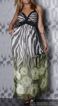 CHIFFON STONE DECORATED PARTY GREEN MAXI DRESS