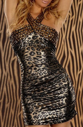 Animal Printed Luxury Gold Mini Dress