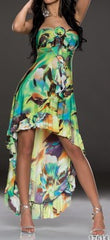 Colorful Green Flower Leg Free Maxi Dress