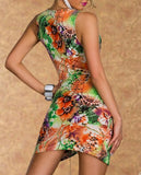FLOWER PRINTED WRAP MINI ORANGE DRESS