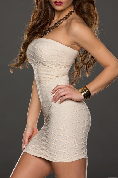 Crema Marble Decoration Tight Mini Dress