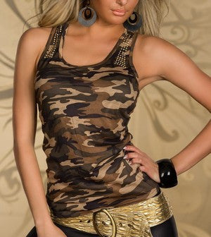 ARMY STYLE BROWN CAMO TANK TOP
