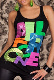 COLORFULL ONE SIGN BLACK TANK TOP