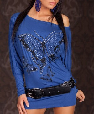 BUTTERFLY SHAPED RHINGSTONE DECORATED BLUE TOP